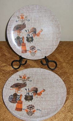 5 Texas Ware Melmac plates Country Rooster great for camping