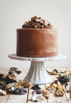 Chocolate peanut butter cup cake? Yes, please. I'll take a slice of this delicious dessert any day of the week!