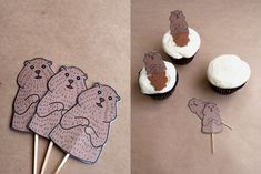 Groundhog Day cupcakes...Adorable ! Let the kids decide if he will see his shadow by adding or not adding