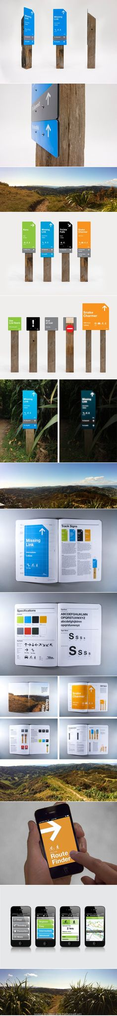 Makara Peak mountain bike trails wayfinding system, via Behance. Click image for full profile and visit the slowottawa.ca boards >> http://www.pinterest.com/slowottawa/