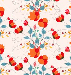 Vintage seamless pattern with abstract flowers vector  by ngocdai86 on VectorStock®
