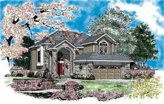New American House Plan with 2513 Square Feet and 4 Bedrooms from Dream Home Source | House Plan Code DHSW37572