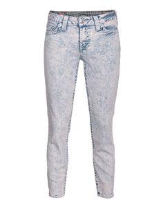 True Religion, Brooklyn Cropped Skinny Jeans with Acid Wash
