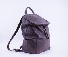 Oversized leather backpack brown python by DaphnyRaes on Etsy