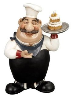 12 French Fat Chef With Cake Tray Kitchen