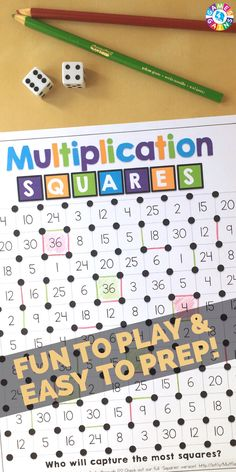 """multiplication facts game to use in your math centers tomorrow? Read about how we've """"mathified"""" the popular squares game to practice multiplication facts! Multiplication Facts Games, Multiplication Squares, Math Facts, Math Fractions, Box Method Multiplication, Math Resources, Math Activities, Free Maths Games, Mental Maths Games"""