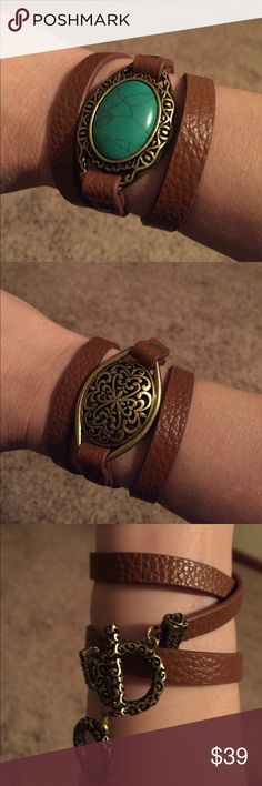 "Desert Diva leather bracelet Premier Designs genuine leather, faux turquoise, antique matte brass plated bracelet. Wrap around with toggle clasp. 22-23"" and reversible so you can wear it 2 ways! Brand new. Premier Designs Jewelry Bracelets"
