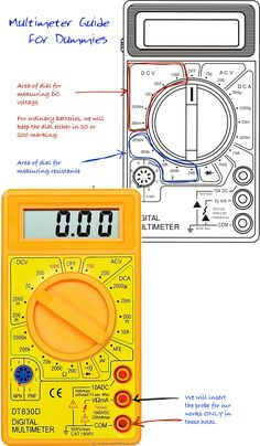 Multimeter Guide For Dummies One of the Most Important Step of Progressing in DIY Electronics Work is Knowing to Use a Multimeter. Here is Multimeter Guide For Dummies. Home Electrical Wiring, Electrical Projects, Electrical Engineering, Electrical Layout, Electrical Energy, Diy Electronics, Electronics Projects, Home Repairs, Arduino