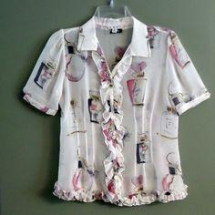 CAbi SHEER Romantically Feminine RUFFLE Blouse Buttons, Women's Size S Small #CAbi #Blouse