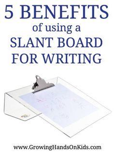 Why would you use a slant board and what are the benefits of a slant board for writing? Let's look at why an OT may suggest using a slant board for writing. Pre Writing, Writing Skills, Writing Tips, Writing Games, Pediatric Occupational Therapy, Pediatric Ot, Dysgraphia, Dyslexia, Handwriting Activities