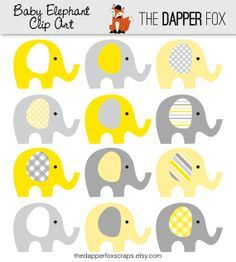 Yellow and Grey Elephant Clip Art - INSTANT DOWNLOAD - Boy or girl baby shower clipart elephants