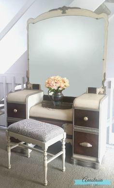 Transform a dated art deco vanity with General Finishes paints and glazes ~ Linen, Empire Grey, Van Dyke Brown, Burnished Rustic Wood Furniture, Art Deco Furniture, Furniture Styles, Shabby Chic Furniture, Painted Furniture, Vintage Furniture, Repurposed Furniture, Furniture Ideas, Furniture Design