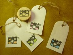 Favor Gift Tags - Camera Rubber Stamp Hand Carved by cafechikako on Etsy, $6.00