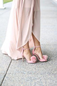 Pink Pom Pom Sandals. Valentine's dress. Valentine's Day style Inspiration. Feminine Style. Shoes. Pink shoes. Pink heels.
