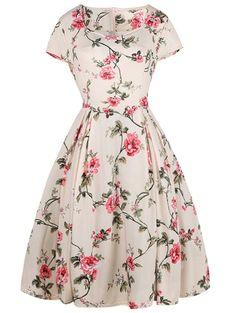 Floral Print Sweetheart Knee Length Dress - LIGHT PINK L