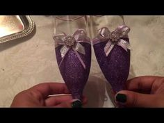 DIY: COMO DECORAR COPAS PARA XV ANOS /EL BRINDIS/ DIY HOW TO DECORATE CHAMPAGNE FLUTES - YouTube