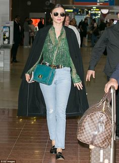 New arrival: Miranda Kerr touched down in France on Tuesday afternoon ahead of a somewhat ...