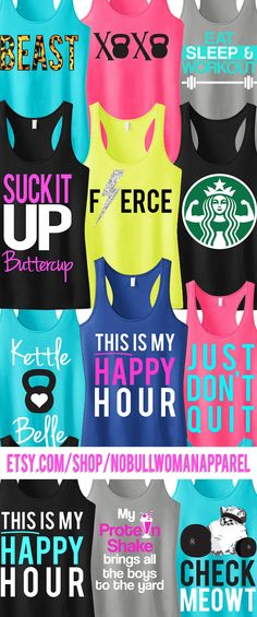 Awesome deal on #Workout Tank tops! PICK ANY 3 for only $63.95 by NoBullWoman Apparel on Etsy. Look great and motivate all year round. Click to buy https://www.etsy.com/listing/166153381/3-workout-fitness-tank-tops-15-off?ref=shop_home_feat_4