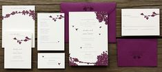Silhouettes of trees and birds in flight make this delicate wedding invitation suite perfect for a summer park or garden wedding. Designed by Jane Buck of Foxy and Winston and shown here on cotton paper with beet envelopes; digitally printed in eggplant and lavender ink.