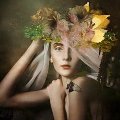 A butterfly alights on the shoulder of a beautiful woman wearing a veil and floral headpiece Floral Headpiece, Art For Sale, Photo Art, Women Wear, Corner, Beautiful Women, Photoshop, Artists, Watch