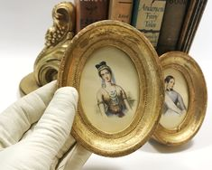 Vintage French Miniature Portraits, Set of 2 Framed Pictures of Ladies, circa early 1900s