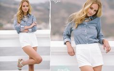 chambray top w polka dot cuffs. nice touch!