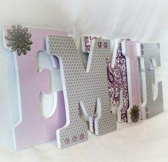 Lavender And Grey Nursery Decor 8 Letter Custom Wooden Letters Handmade Www Etsy Jesscreativecorner