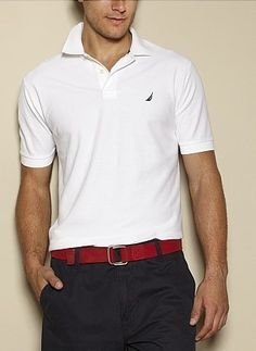 Classic and stylish as can ever be: nautica White Polo Shirt with a pop of color