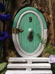 "Hinged 5 1/4"" ""hobbit-style"" Fairy door for the home or garden - sea foam green"