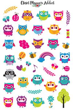 Cute Colourful Owls Cute Planner Stickers by ClosetPlannerAddict