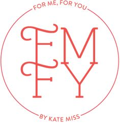 "new logo for the ""for me, for you"" blog and jewelry line rebranding by kate miss"