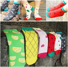 NEW Women Girl's Colourful Cute Fruit Print Street Snap Cotton Ankle Crew Socks  #Unbranded #Casual