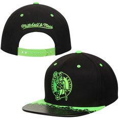 52d68c75e15 Men s Boston Celtics Mitchell   Ness Black Black Neon Lava Snapback Hat