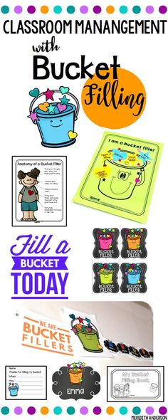 Encourage kindness with bucket filling! Wonderful for classroom management. Set up your students as bucket fillers this year. Name tags, brag tags, a craft, a mini book, anchor chart elements, wall posters and decor, and bucket filling slips are all included! Have you filled a bucket today? | Meredith Anderson