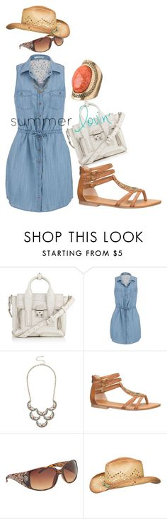 """507. ""Summer Love"" Sleeveless Tie Waist Chambray Dress, Phillip Lim Bag, Sunnies, Sandals, Hat, and Faux Coral Ring"" by misnik ❤ liked on Polyvore featuring 3.1 Phillip Lim and maurices"