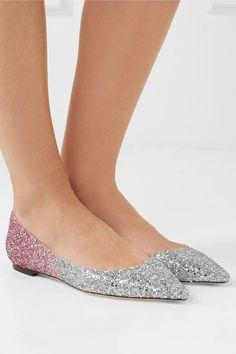 860da8a25124 Jimmy Choo - Romy degradé glittered leather point-toe flats