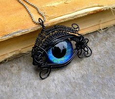 Wire Wrap - Black and Blue Beholder Kin Eye by LadyPirotessa on DeviantArt