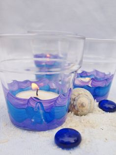 """3 Beach Wedding Votive Candles, Lighting, Blue and Purple """"Wave"""" from Green Orchid Design Studio"""