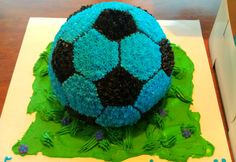 Cute Soccer Ball Cake in Neon Blue