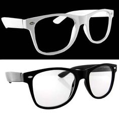 Lot of 2 Nerd Glasses Buddy Holly Wayfarer Black and White Frame Clear Dark Lenses: http://www.amazon.com/Glasses-Buddy-Holly-Wayfarer-Lenses/dp/B002DQWXUY/?tag=vietrafun-20
