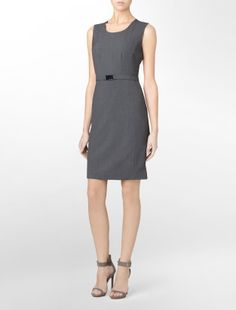 There is nothing easier than a shift for getting office-ready.  This is named the 'Essential Charcoal Belted Suite Dress'.  Essential, indeed.