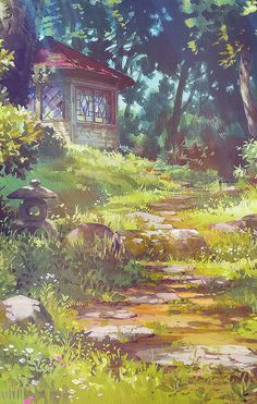 Ghibli Scenery backgrounds - The Secret World of Arrietty Art Studio Ghibli, Fantasy Landscape, Landscape Art, Fantasy Art, Hayao Miyazaki, Secret World Of Arrietty, Animation Background, Studio Ghibli Background, Scenery Background