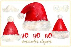 Santa. Christmas watercolor clipart by LABFcreations on @creativemarket