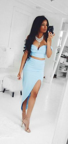 aqua blue crop top pencil skirt set #croptop #skirt #fashion