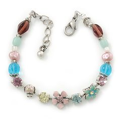 Vintage Inspired Multicoloured Enamel, Crystal Flower, Freshwater Pearl, Glass Bead Bracelet In Silver Tone - 16cm Length/ 4cm Extension - m...