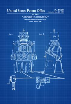 A patent print poster of Robert the Robot Toy Robot invented and designed by Sid Noble for Ideal Toy Corporation.  The patent was issued by the United States Patent Office on April 26, 1955.Patent prints allow you to have a piece of history in your Home, Office, Man Cave, Geek Den or anywhere ...