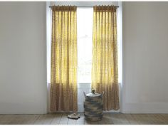 TRENE Pair of yellow patterned curtains