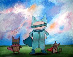 Super Hero Childrens Wall Art Whimsical Nursery by andralynn
