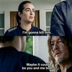 Alanna Masterson as Tara and Norman Reedus as Daryl Dixon in The Walking Dead S8