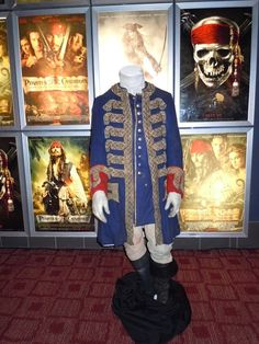 Geoffrey Rush's Captain Barbossa costume from Pirates of the Caribbean 4 on display...